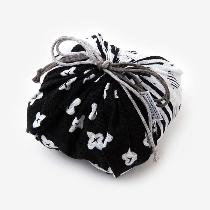 伊勢木綿 おむすび巾着/白菊×小さな花