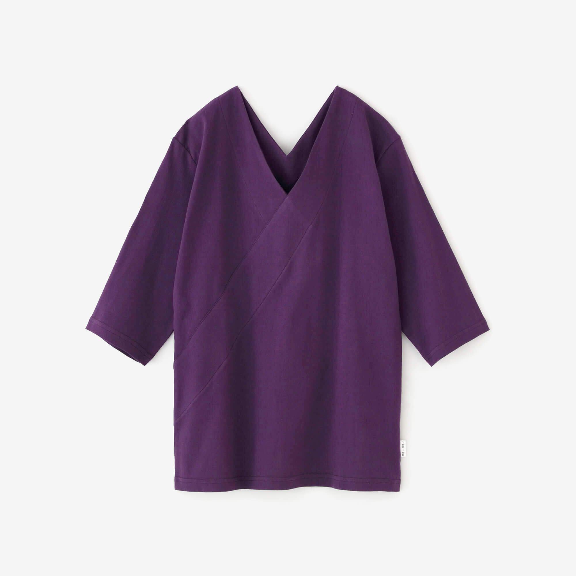 高島縮 抜衿ジバン 六分丈/紫紺(しこん)