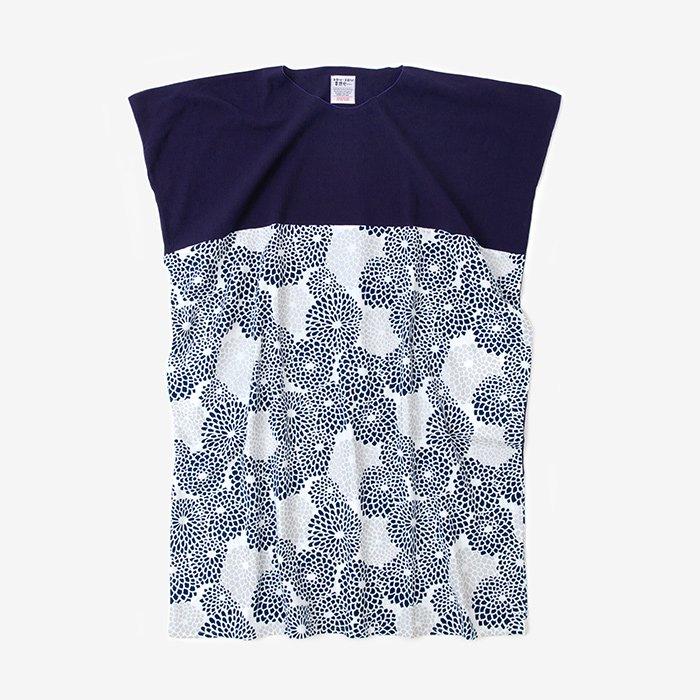 高島縮 長方形衣 組 裾文様(ちょうほうけい くみ すそもんよう)/茄子紺(なすこん)×菊づくし