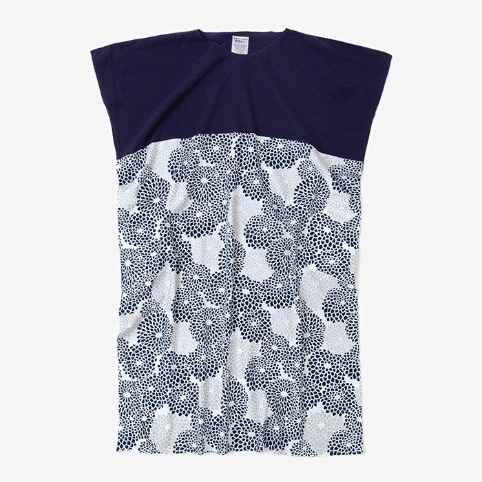 高島縮 長方形衣 組 裾文様 長丈(ちょうほうけい くみ すそもんよう ながたけ)/茄子紺(なすこん)×菊づ…