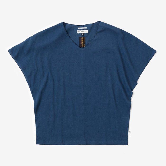 高島縮 袖なしジバン/紺鼠(こんねず)