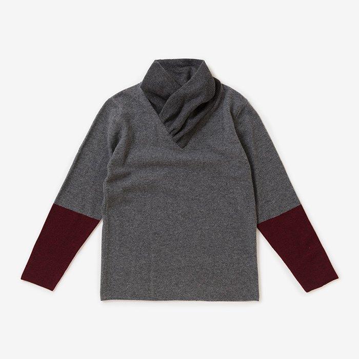 カシミヤ 違い袖 衿巻/杢灰身頃(もくはいみごろ)