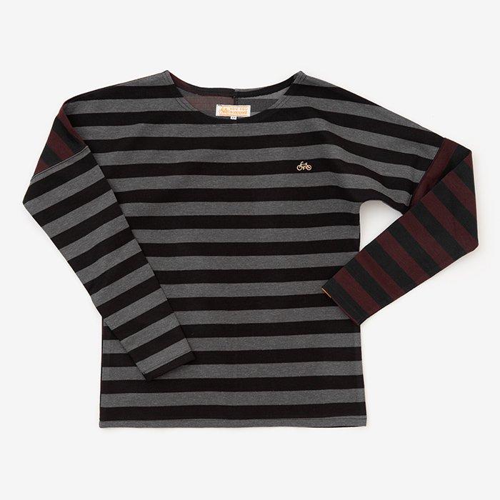 ボーダー 型ぬき長袖Tシャツ/グレーボーダー×ワインボーダー