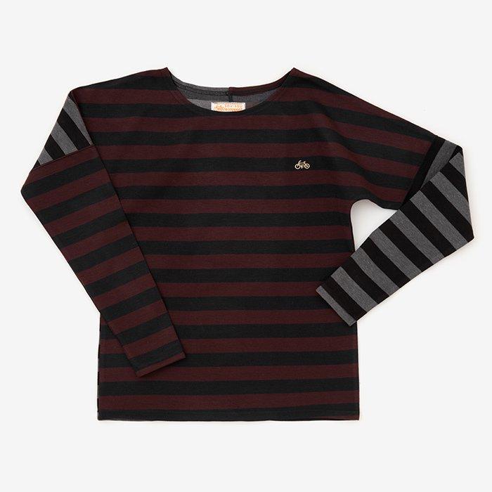 ボーダー 型ぬき長袖Tシャツ/ワインボーダー×グレーボーダー