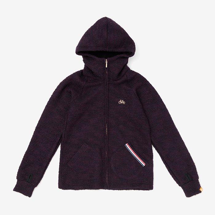 インレイニット BIKEパーカー/紫檀色(したんいろ)