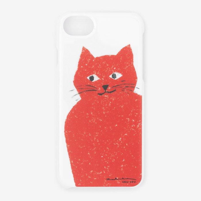 iPhone6/6s/7/8 テキスタイルカバー/赤い猫