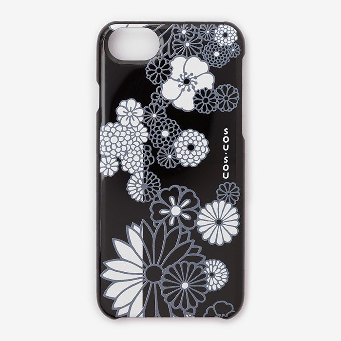 iPhone6/6s/7/8 テキスタイルカバー/金襴緞子 夜色