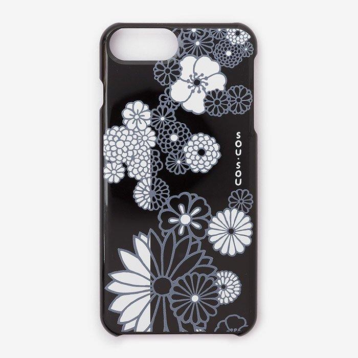 iPhone6 Plus/6s Plus/7 Plus/8 Plus テキスタイルカバー/金襴緞子 夜色