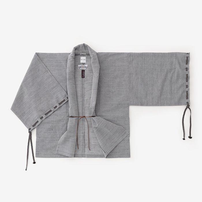 知多木綿 綿麻 絽 宮中袖 短衣 単/灰青(はいあお)