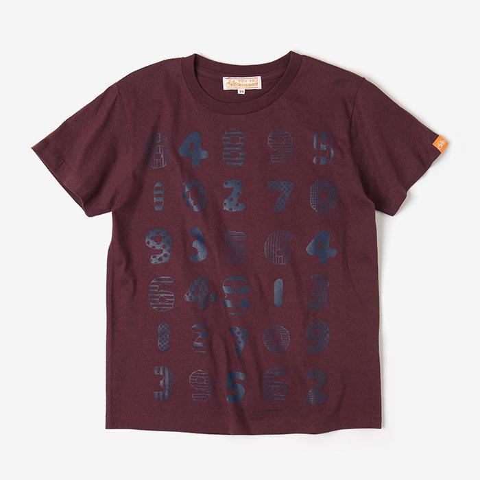 数遊び 半袖Tシャツ/柘榴色(ざくろいろ)
