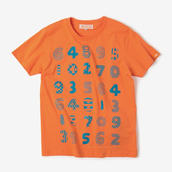 数遊び 半袖Tシャツ/橙色(だいだいいろ)