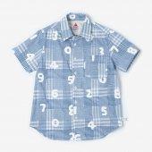 ドビーチェック 半袖シャツ/スカイブルー×SO-SU-U