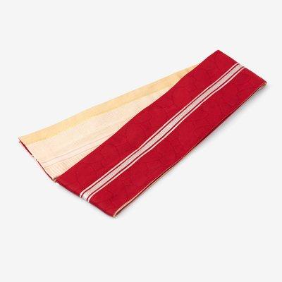 SOU・SOU×京都丸紅 半巾帯/かなえ文様と子持ち縞 乳白(にゅうはく)