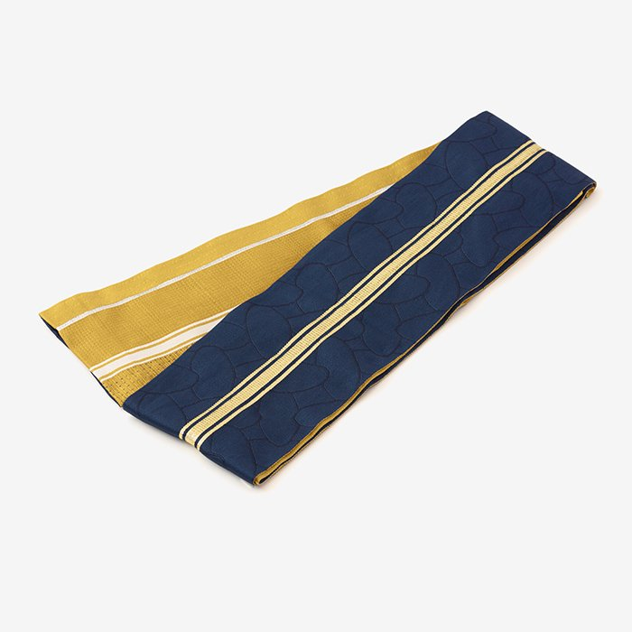 SOU・SOU×京都丸紅 半巾帯/かなえ文様と子持ち縞 黄金色(こがねいろ)