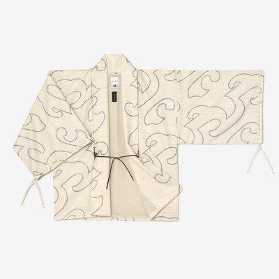 ジャカール 宮中袖 短衣 袷/万波 鳥の子靄(まんぱ とりのこもや)