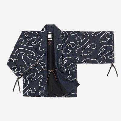 ジャカール 宮中袖 短衣 袷/万波 深紺靄(まんぱ しんこんもや)
