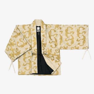 ジャカール 宮中袖 短衣 袷/怒濤 白橡靄(どとう しろつるばみもや)