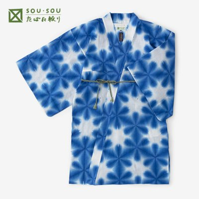 たばた絞り 綿麻 小袖羽織 長丈/雪花 紺青(せっか こんじょう)