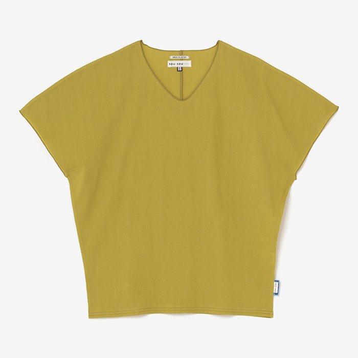 高島縮 袖なしジバン/芥子色(からしいろ)