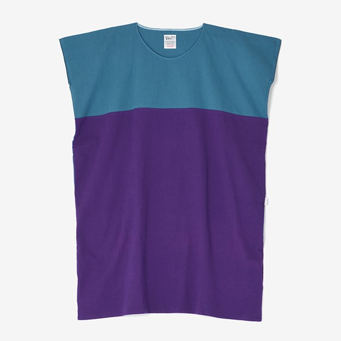 高島縮 長方形衣 組/枡花色×濃紫(ますはないろ×こきむらさき)