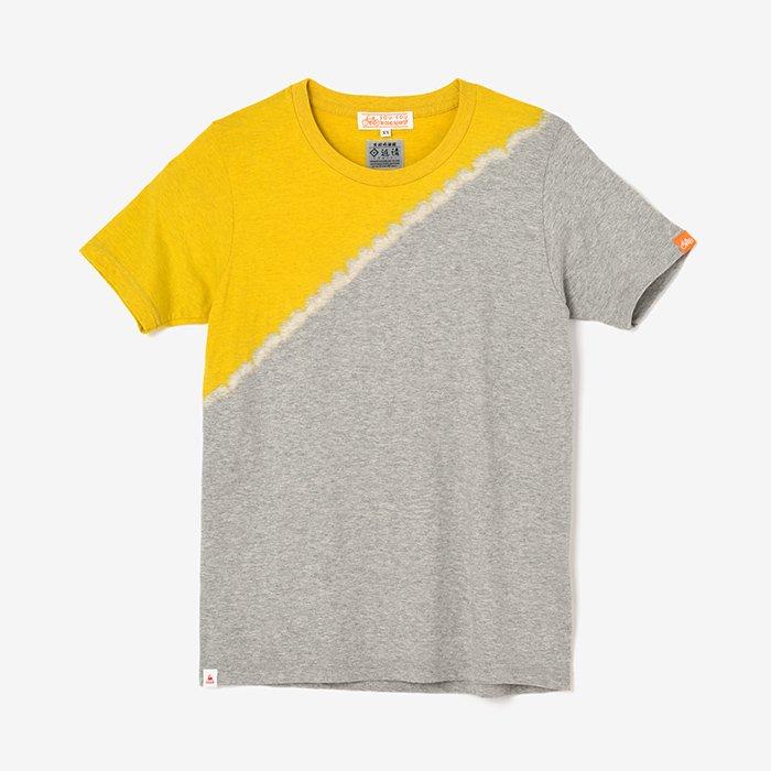 近清絞り 染め分け半袖Tシャツ/メッセンジャー 芥子色×杢灰