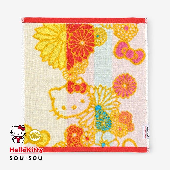SOU・SOUの今治タオル ウォッシュタオル/金襴緞子(きんらんどんす) Hello Kitty