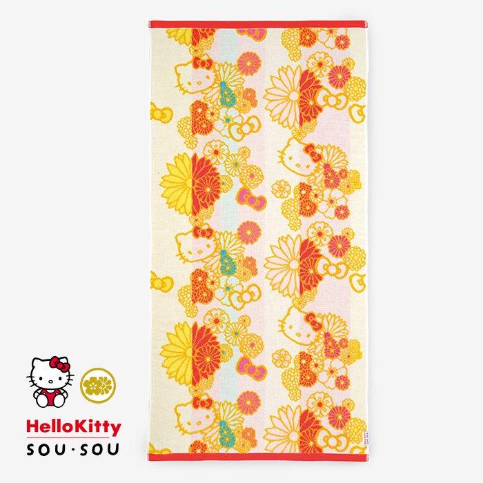 SOU・SOUの今治タオル バスタオル/金襴緞子(きんらんどんす) Hello Kitty