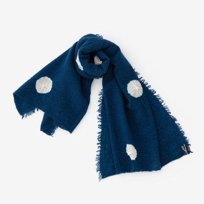 浅井絞り 縮絨(しゅくじゅう)ストール 広巾(ひろはば)/水玉 紺青(みずたま こんじょう)