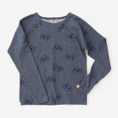 ミニ裏毛 型ぬき長袖Tシャツ/チャリンチャリンあっちこっち 鉄御納戸(てつおなんど)