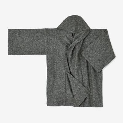 圧縮ブークレ編 頭巾外套(ずきんがいとう)/濃灰(こいはい)