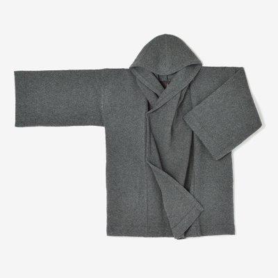 縮絨 頭巾外套(しゅくじゅう ずきんがいとう)/濃灰(こいはい)