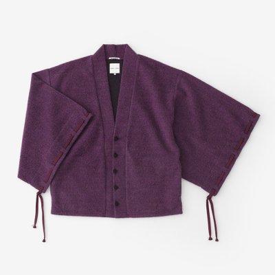 織編 伯爵羽織 宮中袖(はくしゃくばおり きゅうちゅうそで)/滅紫×扇子 (けしむらさき×せんす)