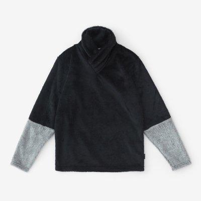 ボア 衿巻ジバン 違い袖/深紺×素鼠(しんこん×すねず)