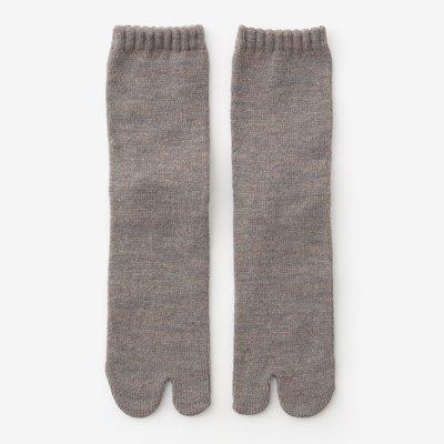 アンゴラ混 三層編 足袋下(普通丈)/茶鼠杢(ちゃねずもく)【男・女性用】