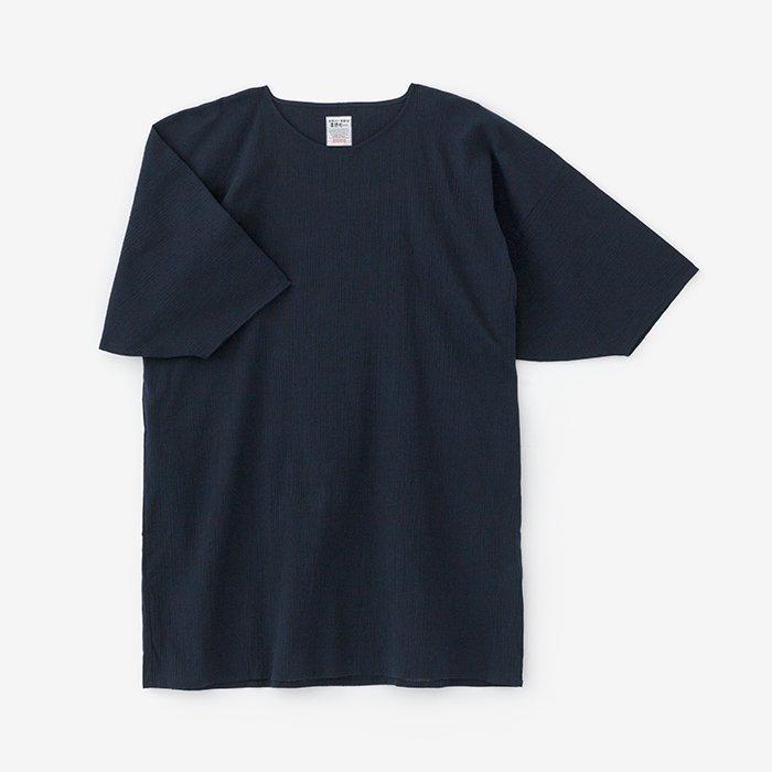 綿麻 高島縮 薙刀長方形衣/濃紺(のうこん)