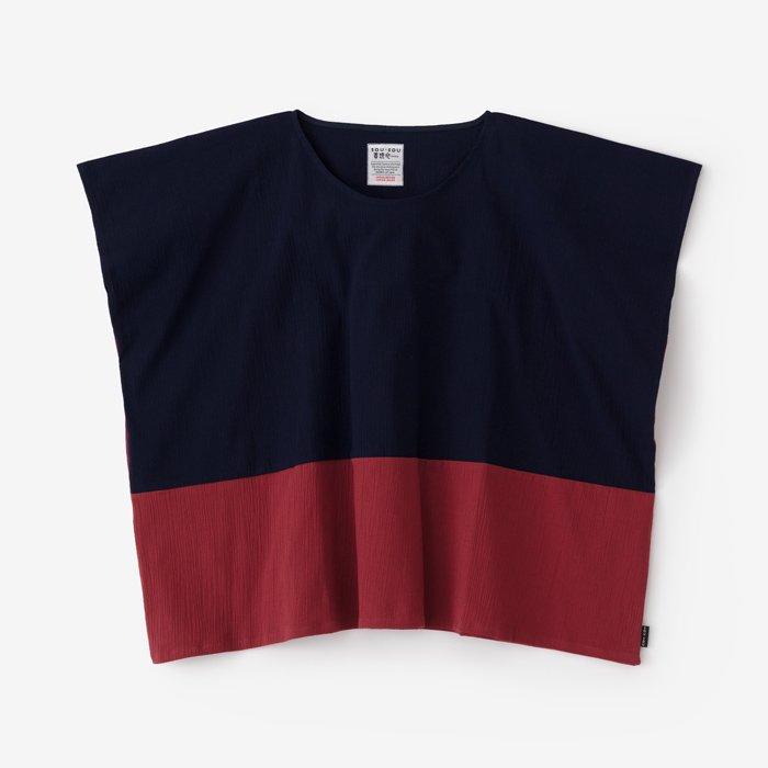 高島縮 四角衣 組/留紺×小豆色(とめこん×あずきいろ)
