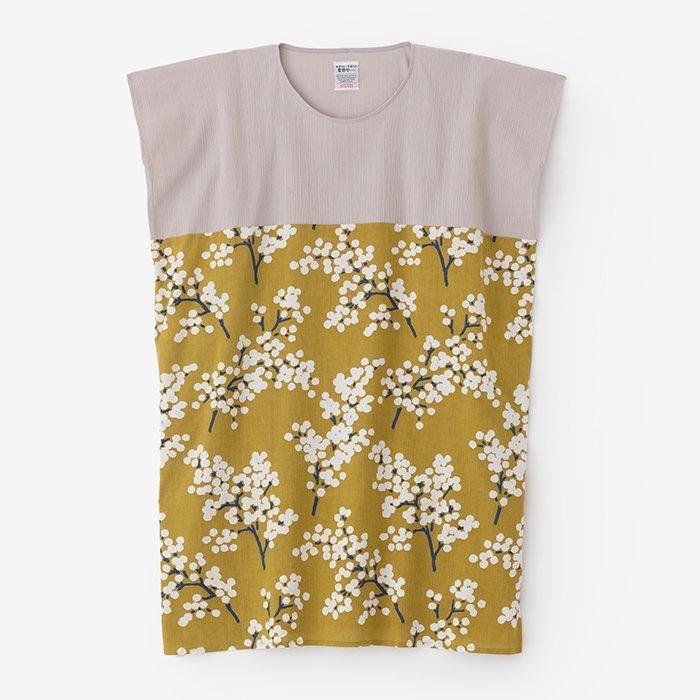 高島縮 長方形衣 組 裾文様/桜鼠×南天(さくらねず×なんてん)