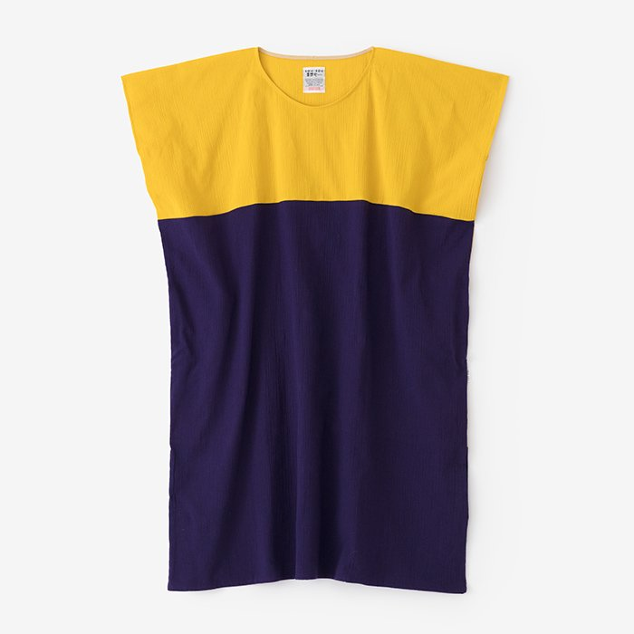 高島縮 長方形衣 組 /菜の花色×茄子紺(なのはないろ×なすこん)