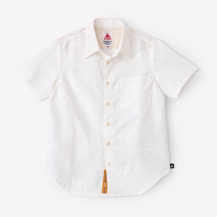綿麻 半袖シャツ/チャリンチャリンあっちこっち つくも