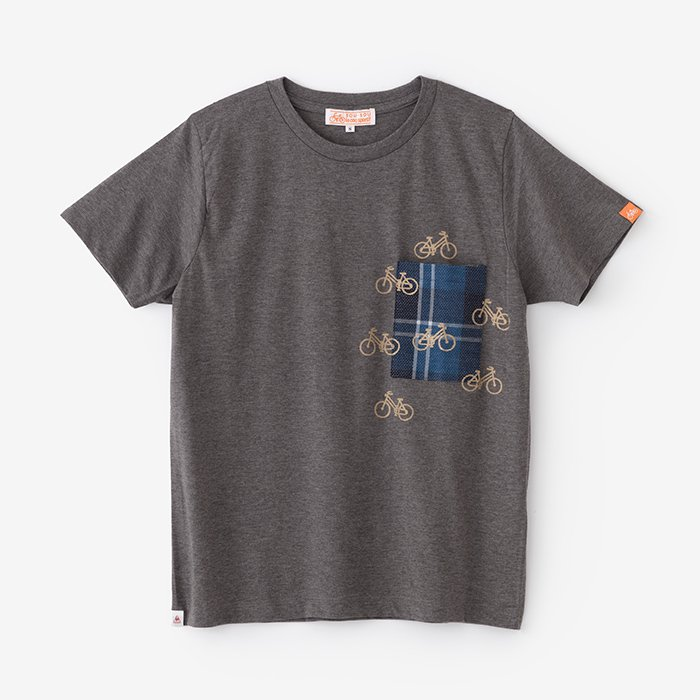 半袖 ポケットTシャツ/濃灰(こいはい)×チャリンチャリン