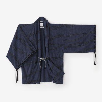 杢織 宮中袖 短衣 単(もくおり きゅうちゅうそで たんい ひとえ)/縛り 濃紺(しばり のうこん)