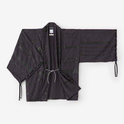 杢織 宮中袖 短衣 単(もくおり きゅうちゅうそで たんい ひとえ)/霞 墨黒(かすみ すみくろ)