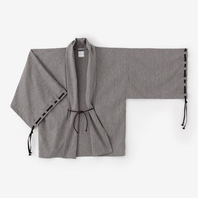 綿麻混 宮中袖 短衣 単/羅墨(らぼく)