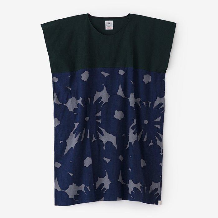 高島縮 長方形衣 組 裾文様/深緑色(しんりょくしょく)×おおらか