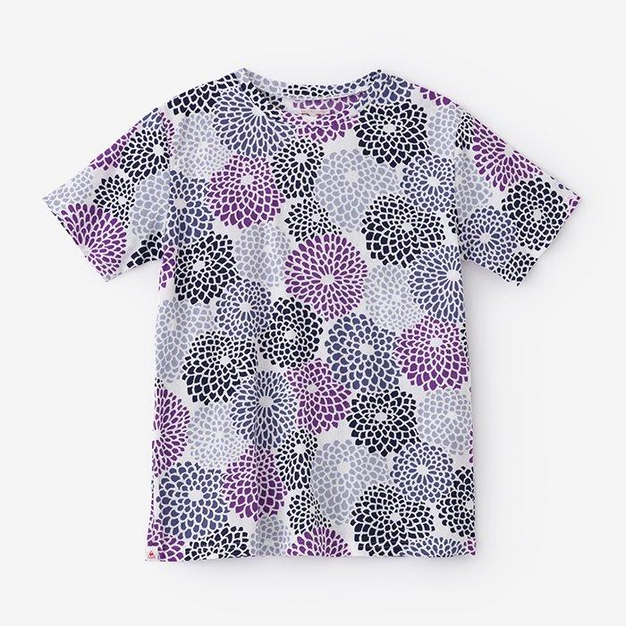 高島縮 半袖Tシャツ/菊づくし