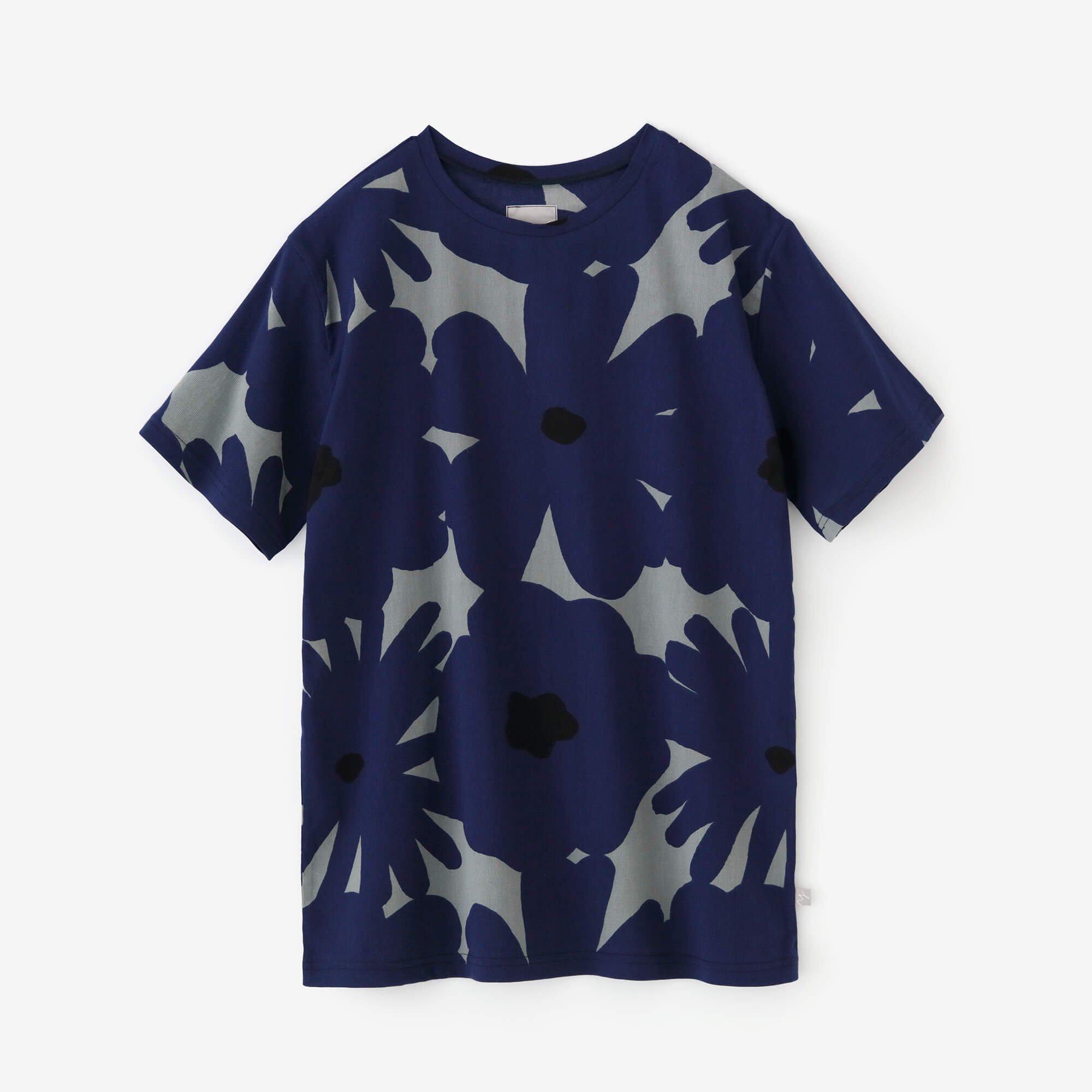 高島縮 半袖Tシャツ/おおらか 利休鼠×群青色(りきゅうねず×ぐんじょういろ)