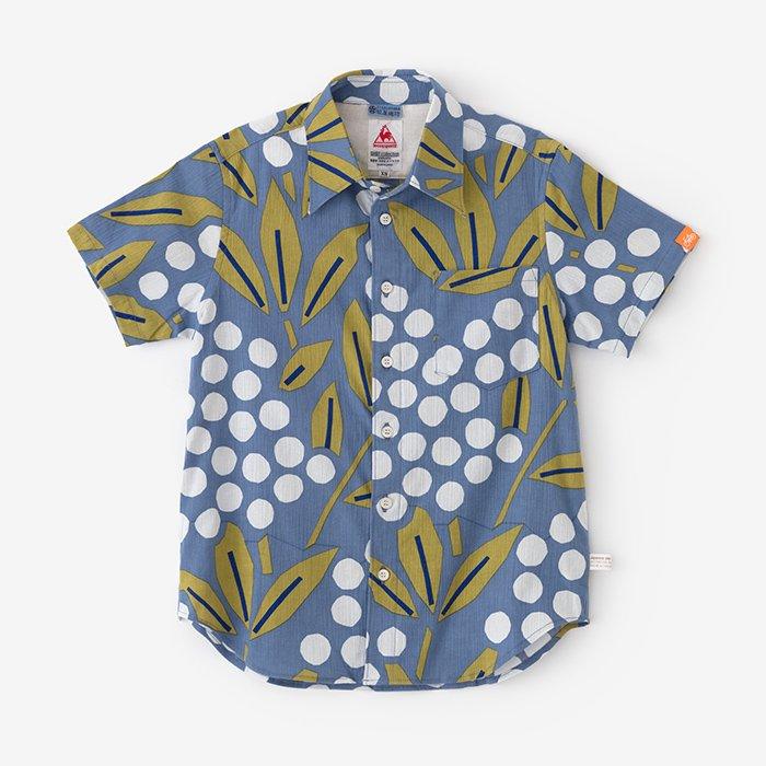 高島縮 半袖シャツ/南天竹(なんてんちく)