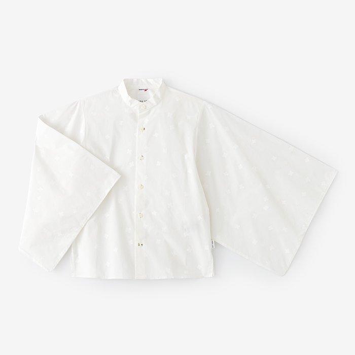 タイプライターストレッチ 草衣 上(そうい うえ)/小花ちらし 乳白(こばなちらし にゅうはく)