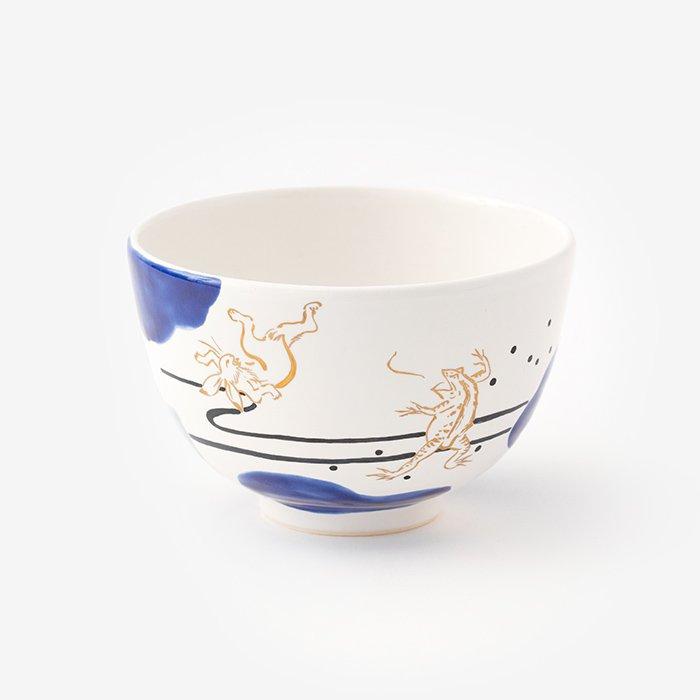 山岡善昇窯謹製 京焼手描き抹茶碗/雲間と鳥獣戯画