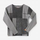 高密度ミラノリブ 型ぬき長袖Tシャツ/間ぬき 杢灰(もくはい)